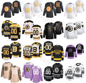 Boston Bruins 2020 Eishockey 52 Sean Kuraly Trikots 25 Brandon Carlo 48 Matt Grzelcyk 10 Anders Bjork 14 Chris Wagner Jake DeBrusk