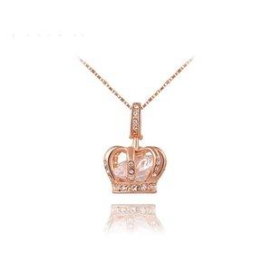 Womens Queen Crown Pendant Necklace 3 Lays Rose Gold / Platinum placcato con cristalli Austrain Miglior regalo per Girl Friend Party Valentine's Moth