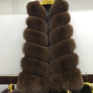 Pop 2019 Amazing Decent Natural FOX Fur Long Vest Real FOX Fur Gilet Inverno Alta qualità delle donne Cappotto reale A380-021