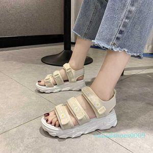 Summer Women Mesh Sport Sandals Letter Decoration Open Toe Casual Platform Wedge Sandals Women Outdoor Beach Shoes 2020 c09