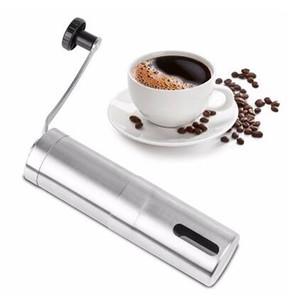 Argent Moulin à café Mini manuel main en acier inoxydable à la main grain de café Burr Grinders Moulin outil de cuisine Crocus Grinders
