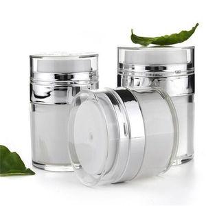 15ml 30ml 50ml Airless Acrylic Cream Jar Vacuum Cream Bottle Cosmetic Makeup Jars Refillable Container Lotion Pump Bottle