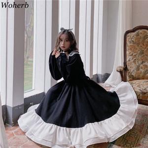 Woherb Sweet Lolita elbise Kadınlar Vintage Dantel ilmek Yüksek Bel Elbise Kawaii Japon Kızlar Gotik Lolita Cosplay Loli 25928