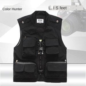 Men's Outdoor Leisure autumn thin photography summer quick dry multi-pocket vest fishing vest plus
