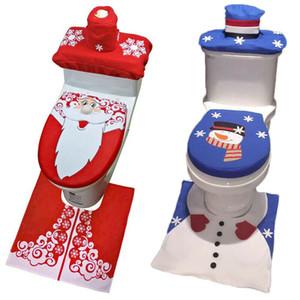 2019 Moda Hogar mercancías de Navidad Fantasía de Santa asiento del inodoro cubierta + Rug Conjuntos de baño Decoración de Navidad USA