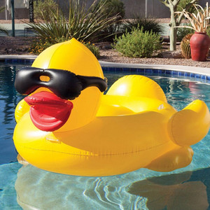 Adults Party Pool 82.6*70.8*43.3inch Swimming Yellow Duck Floats Raft Thicken Giant PVC Inflatable Duck Pool Floats Tube Raft DH1136 T03