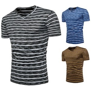 Hommes d'été T-shirt de remise en forme à manches courtes col en V à rayures couleur Chemise en coton Casual pour hommes Taille S-2XL asiatique
