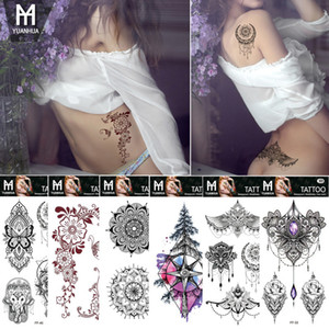 Tüy Totem Çiçek Sahte Flaş Dövme Çıkartma Siyah Mektup Geçici Dövme Erkek Kadın Vücut Kol Sanat Çizimleri Dövme Etiket