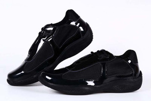Brand New Ankunftmens schwarze beiläufige Komfort-Schuhe Fashion Sneaker Sportschuhe für Mann Lackleder mit Mesh-Breathable Schuhe 39-46