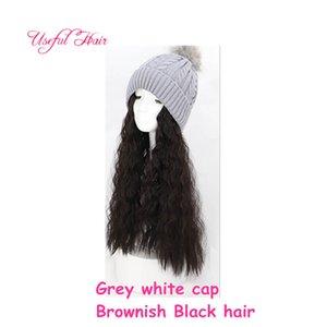 Шапка зимняя шапка животных недавно вязаная шерсть вязаная шерстяная шапка bonnet de designer синтетические волосы теплые длинные волосы парик шляпа для женщин