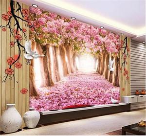 Personnalisé taille 3d photo papier peint salon chambre chambre murale Cherry Blossom Avenue paysages photo canapé TV toile de fond papier peint autocollant