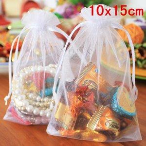 Billig! 100pcs / bag Schmuck Verpackung Drawable Klein Sheer casamento Organza Taschen Weiß, Hochzeits-Geschenk