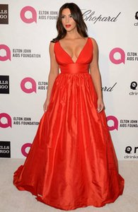 Kim Kardashian Red Evening Dress High Quality Sexy Deep V Neck Long Party Dress Formal Celebrity Inspired Event Gown