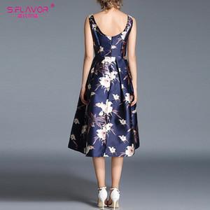 S. FLAVOR Vintage стильное платье без рукавов A-line Rerto 2020 весна лето элегантный сексуальный миди Vestidos De MX200506