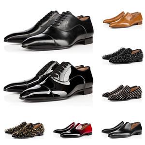 red bottoms shoes Moda maschile di lusso mocassini firmati scarpe casual triple nero rosso sneakers in vernice opaca picco per fondi piatti matrimoni Business