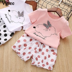 Vgiee Toddler Girls Clothes 2 Piece Girl Set T Shirt Pant Summer Rabbit Kids Set Child 3 To 7 Years Girl Party Outfits CC1054 T200629