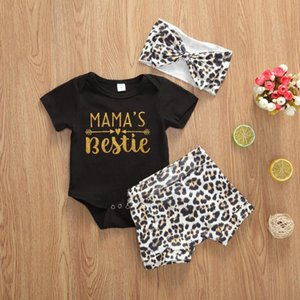 Newborn Baby Baby's Set Girls Clothes Short Sleeve Letter Casual Loose O-neck Romper Shorts Headband Outfits Clothing Set Summer