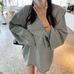 Женщины Сплошной дизайн Новый Hoodie Мода заплатки Сыпучие Кофты с длинным рукавом Streetwear Женщины с капюшоном Пуловер Casual Женские топы