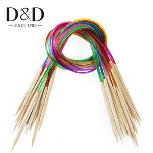 18pcs / Set Circular agulhas de tricô Sets tubo plástico colorido Crochet Hooks Set bambu Circular Knitting Needle 40CM 60CM