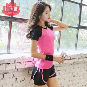 Spor Yoga Giysileri Kadın Takım Elbise 2020 Yaz Yeni Stil Seksi İki Parçalı Set Gym Moda Zayıflama Spor Kısa Kollu Tişört S
