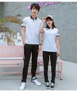 Aşıklar 2019 Tide Uzun Sleevelet Tişörtlü Erkekler ve kadınlar Gevşek Yarım Kol Ceket Pantolon Elbise
