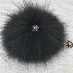 "15cm 6""-Black Soft Real Genuine Raccoon Fur Pompom Ball W Button On Hat Bag Charm Key Chain Keyring DIY Accessories"