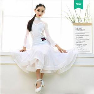 Danse classique Standard Salle de bal Danse Robes enfants blanche élégante danse jupe compétition Waltz Girl Dress