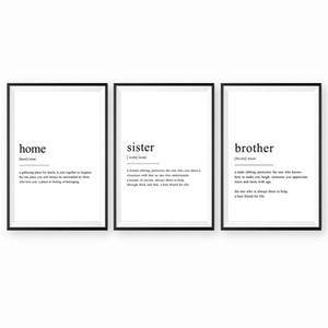 Inicio Definición arte de la pared de lona Poster Prints hermano y hermana Definición Pintura Negro pared blanca Imagen Living Room Decor