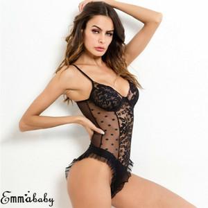 Donne sexy scollo a V Intimo Body cinghietti aderente Body pizzo Sling Sleepwear Stretch Body G-String Underwear