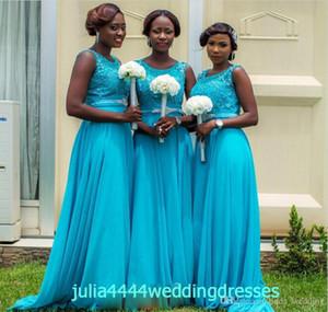 2019 Barato Turquesa Vestido de dama de honor Surafricano Largo Jardín de gasa Banquete de boda formal Invitado Dama de honor Vestido más tamaño por encargo