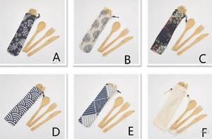 Reutilizable retro elegante de madera de bambú Cubiertos Cubiertos Con Bolsas Vajilla Cuchara Tenedor Palillos portátil conjunto de vajilla