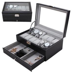 12 Pelle Griglie Slot orologi Storage Box PU Professionale doppi strati del supporto della vigilanza cassa dei monili Nero Marrone Scrigno Box 2019