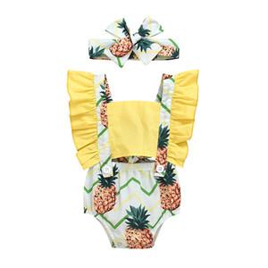 pudcoco Yaz Ananas Tatlı Giyim Romper Print Kid Kız bebekler fırfır Kol tulum Jumpsuit Kıyafetler Seti Bebek 0-24M set