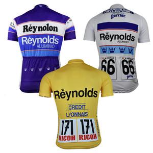 NOVO roupas de ciclismo MTB equitação corridas pro equipa Reynolds Ciclismo jersey Homens manga curta bicicleta usar amarelo clássico top branco azul