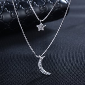 New Arrivals 925 Sterling Silver Multi Layer Crystal Moon Star Necklaces For Women Girls Gift Fashion Jewelry