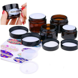 5g 10g 15g 20g 30g 50g 100g Amber Glass Jar Cosmetic Cream Bottle Refillable Sample Container with Inner Liners and Screw Cap