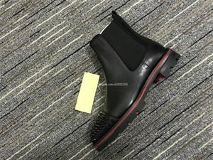 2019 새로운 스타일의 붉은 바닥 운동화 남성 부트 스파이크 남성 슈퍼 완벽한 멜론 오토바이 발목 부츠 가죽 빨간색 유일한 남자 신발 스웨이드