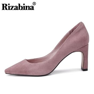 Rizabina Real Leather Pink Pumps Party Office Thin High Heel Shoes Woman Hot Sale Pointed Toe Pumps Footwear Size 34-39