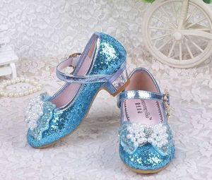 Mode Printemps Eté Fille De Talons Hauts Cristal Princesse Parti Enfants Chaussures Perle Simili Cuir Chaussures Pour Fille Sandal Rose Argent Bleu