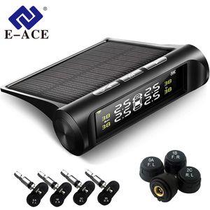 E-ACE K01 / K02 TPMS Sistema de Monitoramento de Pressão de Pneus de Carro Sistemas de Alarme de Segurança Pressão dos Pneus Display Digital de Energia Solar Power