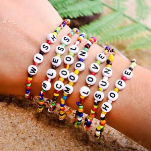 Bohemian Seed Beads Charm Letter Bracelet Stretchy Hope Bless Boho Yoga Friendship Bangles Pulseras Bangles for Women Kids