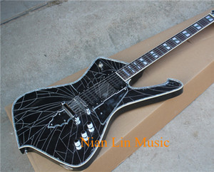 6-String Electric Guitar with Cracked Mirror Surface,2 Open Pickups,Colorful Abalone Fret Marks Inlay,can be Customized