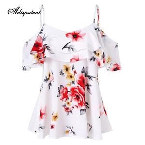 L'été d'été à volants Top Fashion Off épaule Floral Imprimé Blouses en mousseline de soie en vrac Casual Streetwear Mujer Tops 2019
