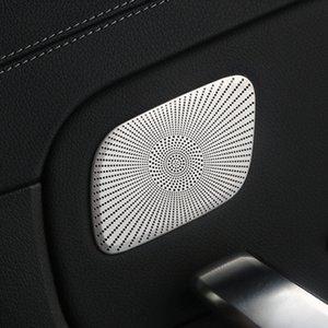 Car Styling Rear Door Áudio Speaker Net Covers Adesivo Decoração guarnição Para Mercedes-Benz Classe A 200 2019 Aço Inoxidável