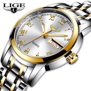 LIGE Ladies Watch Women Waterproof Rose Gold Steel Strap Women Wrist Watches Top Brand Bracelet Clock