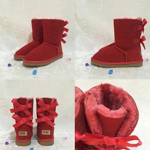 Schnee-Aufladungen Australian-Art-Frauen Kuh Veloursleder 2-Bogen zurück Winter-Dame Luxus Kurz Booties Marke Modedesignerschuhe plus Größe 35-45