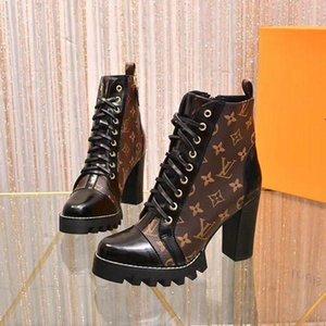 2020 Traccia stellare Stivali bassi di lusso progettista delle donne tacco grosso stivaletti del progettista del merletto di lusso fino Martin Boots Ladys Winter Fashion Boo