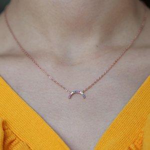 100% 925 sterling silver curvo luna arcobaleno colorato cz collana per le donne oro pieno gioielli delicati minimalista femme