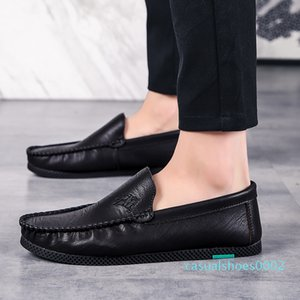 Spring Young Casual Loafers Shoes Black Drive Footwear For Men Anti-Slippery Loafers Flats Man Shoes Brand Pu Leather Sneakers c02