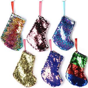 Weihnachtsstrumpf Sequin Geschenke Tasche Sack Beuter Cartoon Strümpfe Weihnachtsbaum Dekor Weihnachtsmann für Home-Party-A03